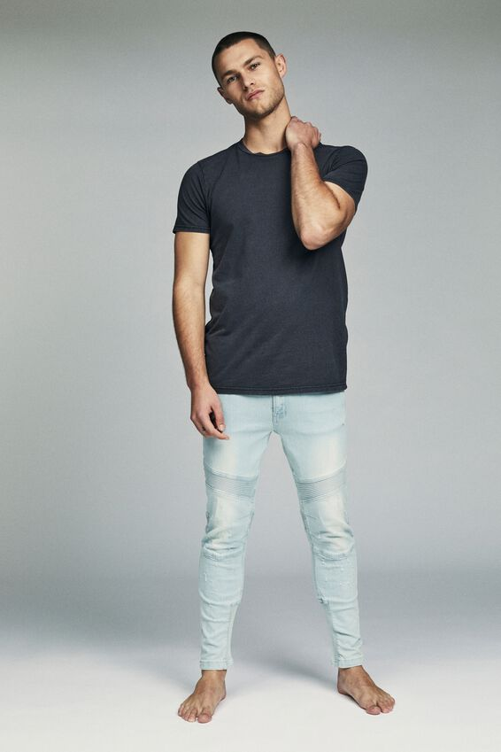 Skinny Tapered Jean, RIBBED TINT BLUE