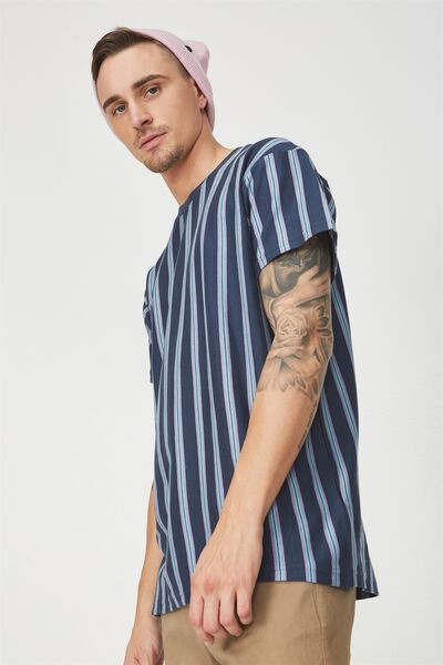 Dylan Tee, TRUE NAVY/MARINE BLUE/PURPLE VERTICAL STRIPE