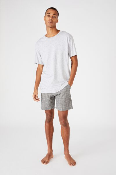 Lounge Short, White Black Micro Check