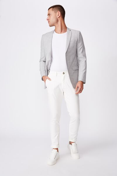 Wool Blend Slim Suit Jacket, LIGHT GREY