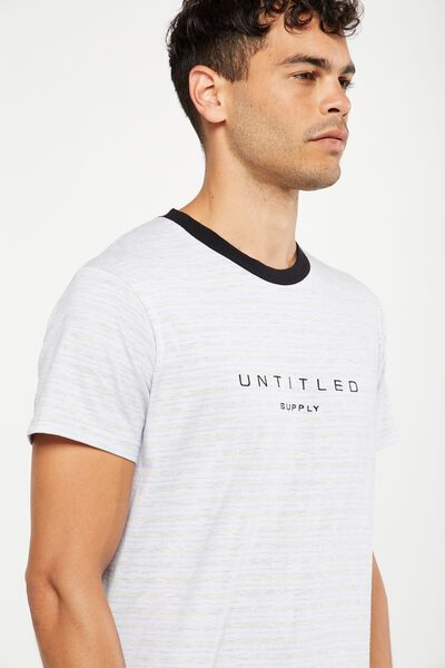 Longline Droptail Tee, PEARLWINKLE/LIGHT GREY MARLE STRIPE