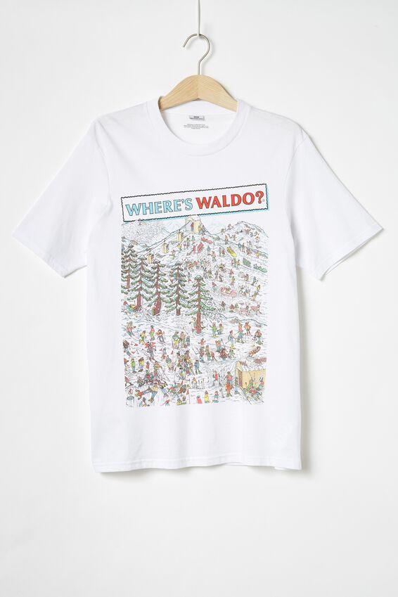 Tbar Collab Character T-Shirt, LCN UNI SK8 WHITE/WHERES WALDO - MOUNTAINS