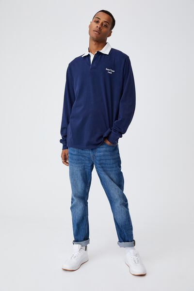 Rugby Long Sleeve Polo, NAVY SOMETIMES LABEL