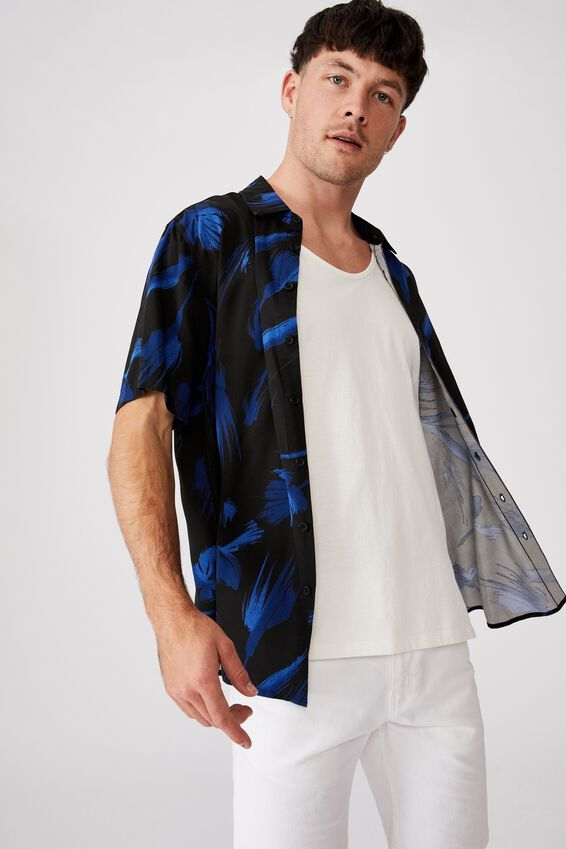 Short Sleeve Resort Shirt, DARK PAINTERLY FLORAL