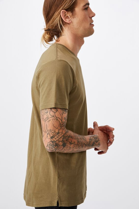 Essential Longline Scoop T-Shirt, JUNGLE KHAKI