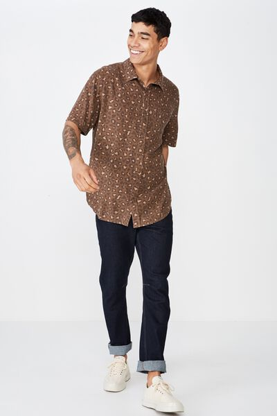 91 Short Sleeve Shirt, BROWN ANIMAL