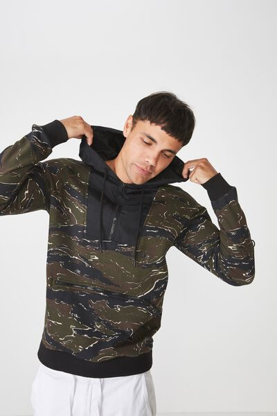 Drop Shoulder Pullover Fleece, CAMO/BLACK/SLEEVE POCKET