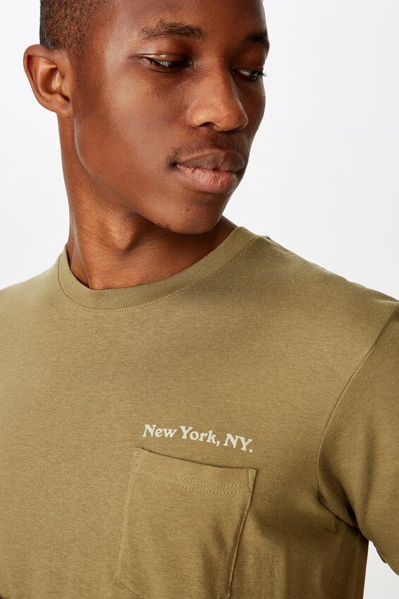 Tbar Text T-Shirt, JUNGLE KHAKI/NEW YORK. NY POCKET