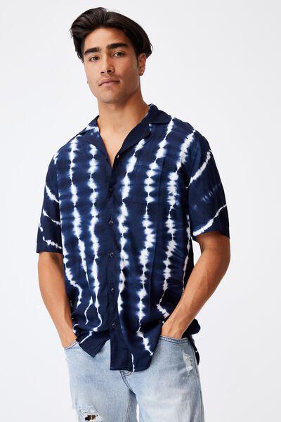 91 Short Sleeve Shirt, NAVY VERT TIE DYE