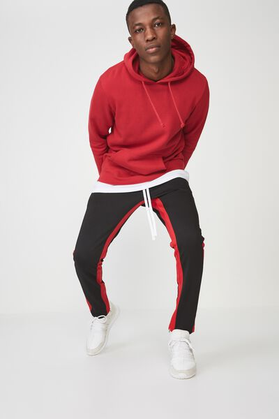 Urban Side Stripe Track Pant, BLACK / RED PANEL