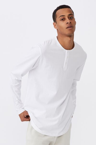 Longline Scoop Henley Long Sleeve T-Shirt, WHITE