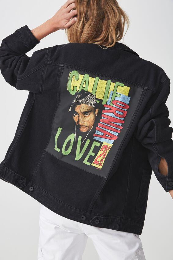 Tupac Denim Jacket, TUPAC CALIFORNIA LOVE/BLACK