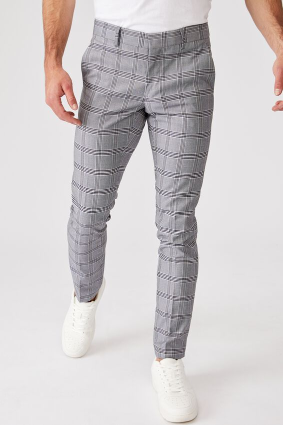 Fashion Slim Stretch Suit Pant, GREY CHECK