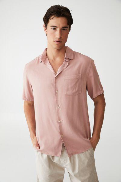 Cuban Short Sleeve Shirt, PLUM