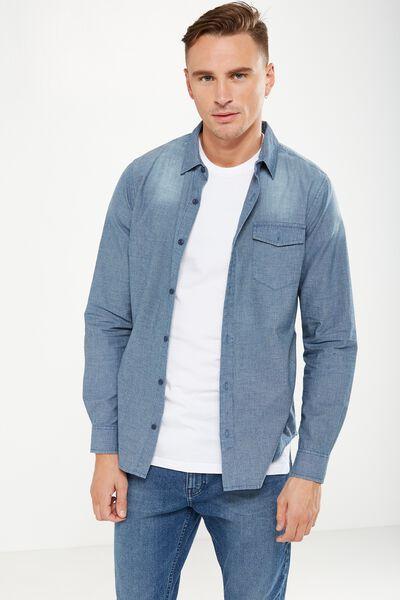 91 Shirt, TEXTURED BLUE DENIM