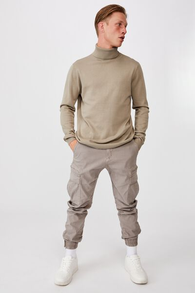 Roll Neck Sweater, TAUPE