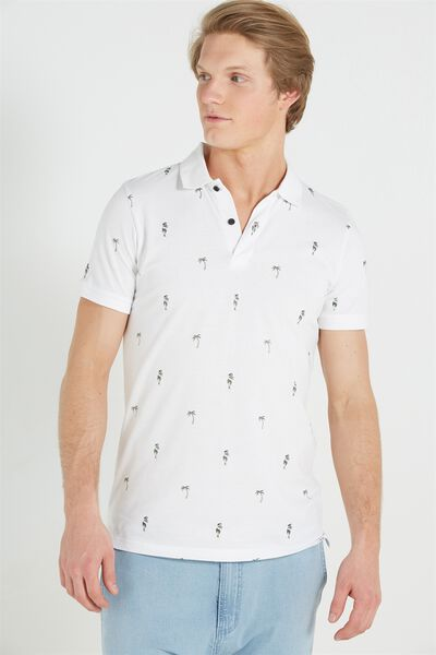 Short Sleeve Regular Fit Prep Polo, WHITE