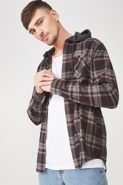 Rugged Hooded Shirt, CHARCOAL RED CHECK