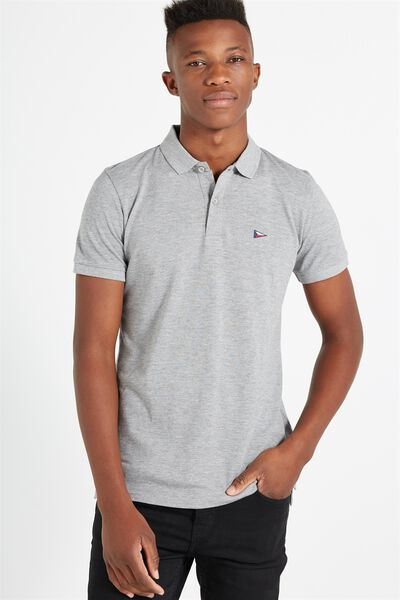 Short Sleeve Icon Polo, GREY MARLE/BRONX