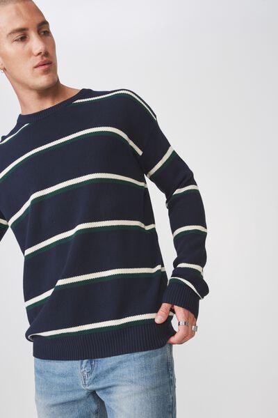Lightweight Crew Sweater, NAVY WHITE STRIPE