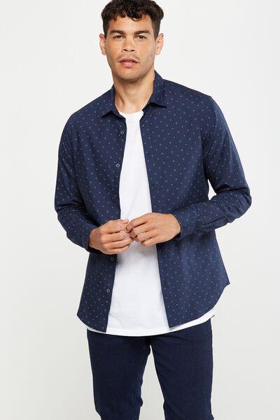 Slim Smart Shirt, NAVY DITSY PRINT