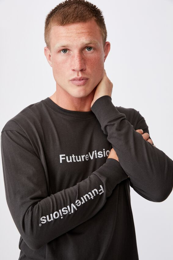 Tbar Long Sleeve T-Shirt, WASHED BLACK/FUTURE VISIONS