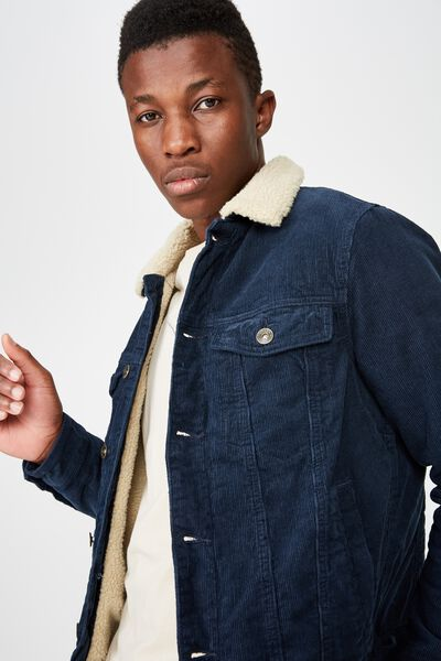 Borg Denim Jacket, NAVY CORD