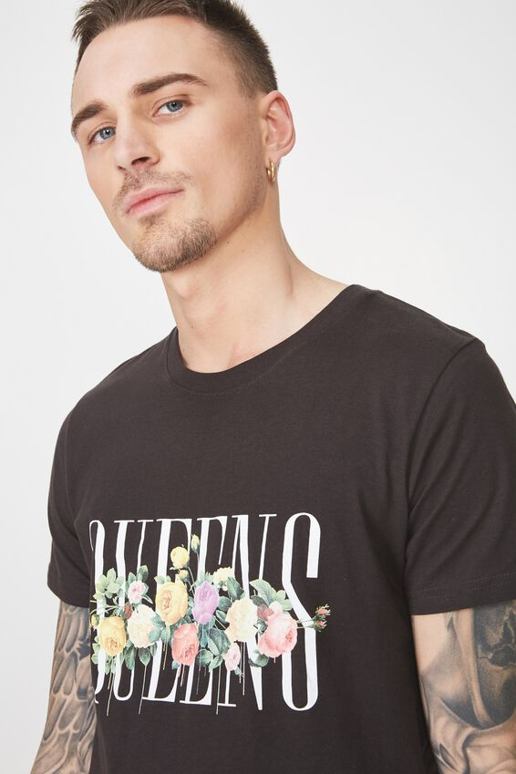 Longline Scoop Hem Tee, WASHED BLACK/QUEENS
