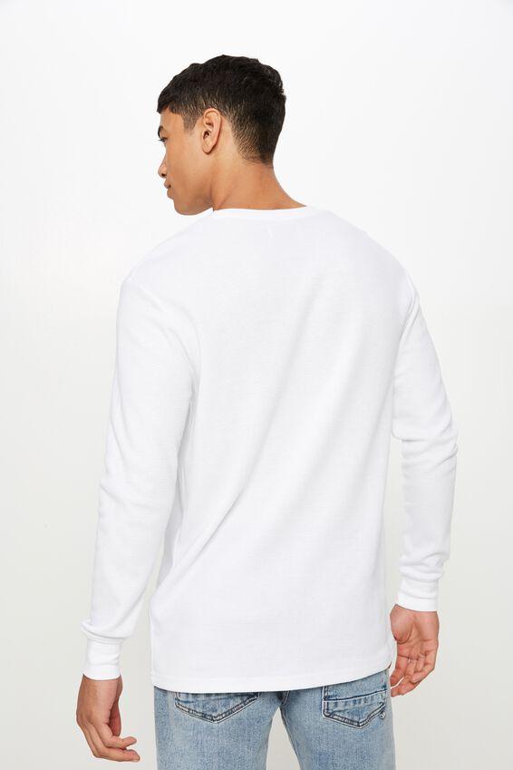 Waffle Long Sleeve T-Shirt, WHITE