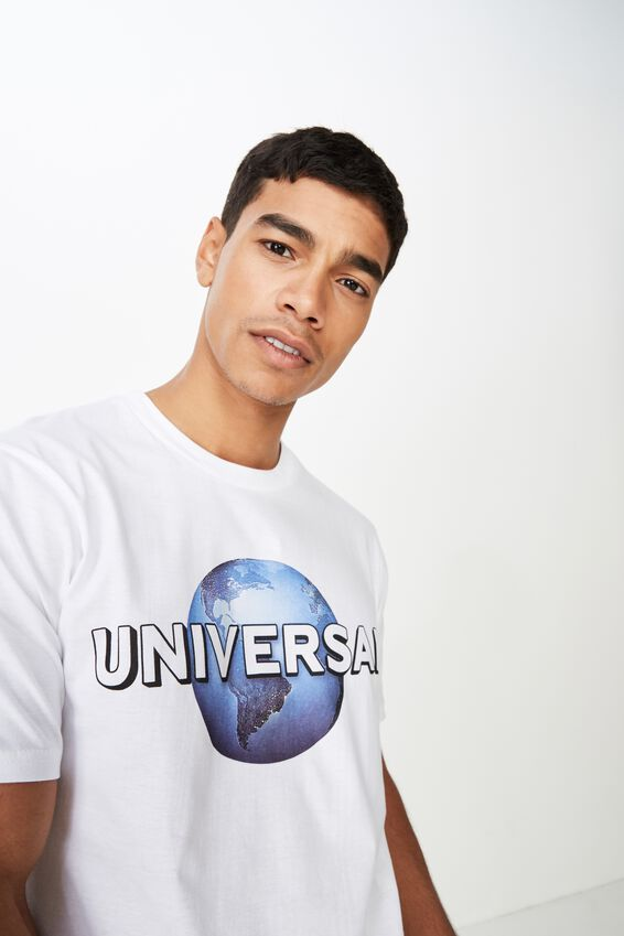 Tbar Collab Pop Culture T-Shirt, LCN UNI WHITE/UNIVERSAL LOGO