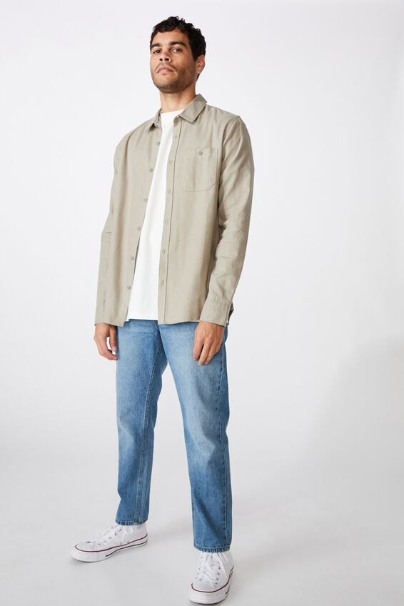 Rugged Long Sleeve Shirt, LIGHT GREY