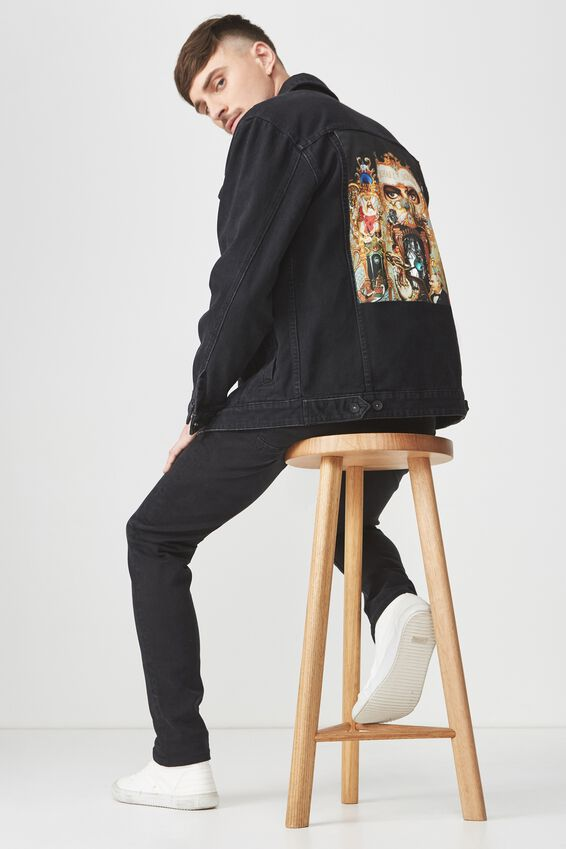 Michael Jackson Denim Jacket, MJ DANGEROUS/BLACK