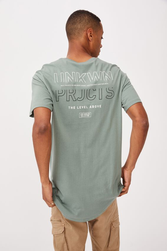 Longline Scoop T-Shirt, STEEL GREEN/THE LEVEL ABOVE