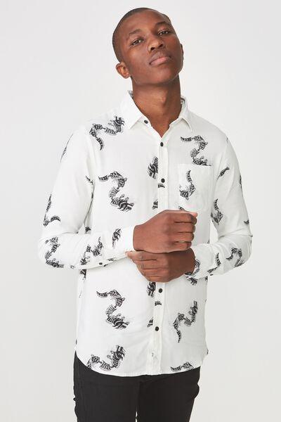 91 Shirt, WHITE DRAGON PRINT