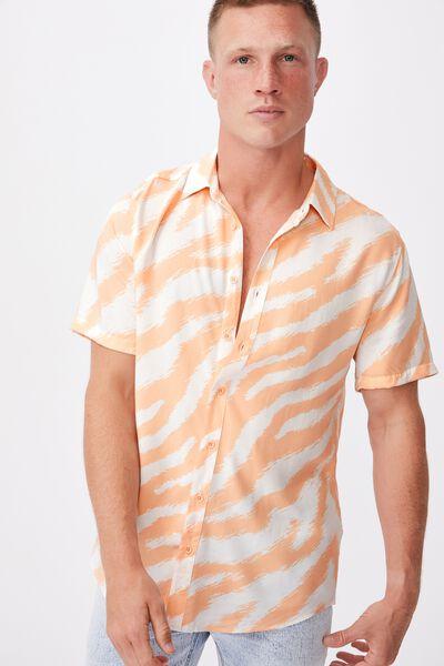 91 Short Sleeve Shirt, APRICOT WHITE ZEBRA SKETCH