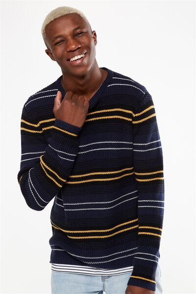 Split Hem Knit, NAVY BLANKET STRIPE