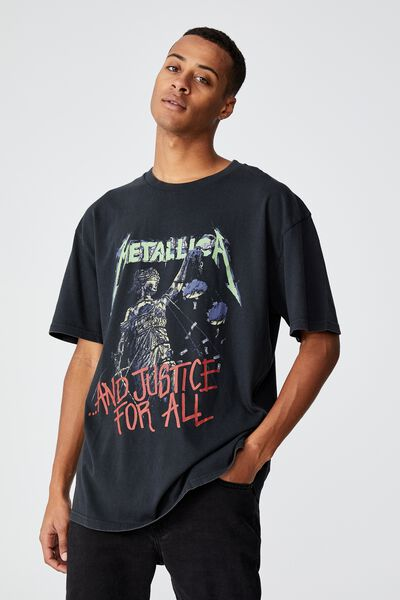 Special Edition T-Shirt, LCN PRO WASHED BLACK/METALLICA-AND JUSTICE FO