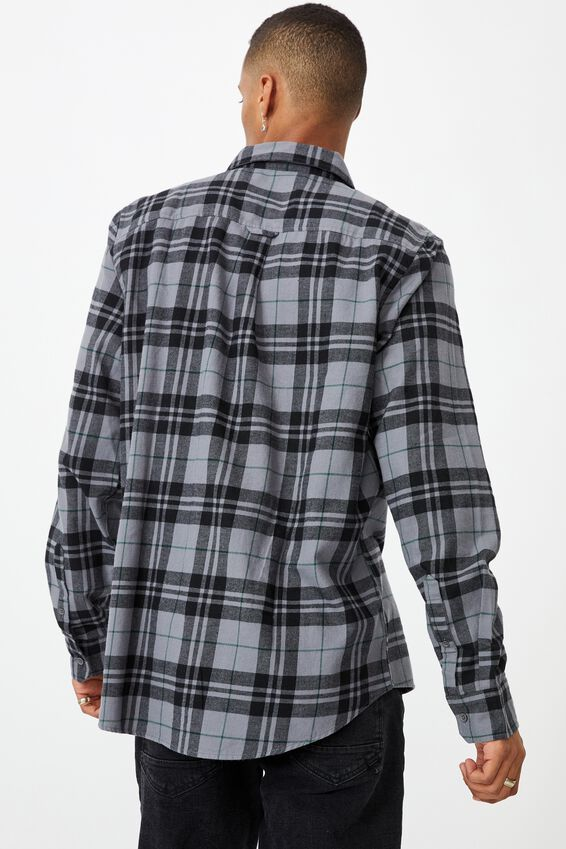 Washed Long Sleeve Light Check Shirt, BLACK CHECK