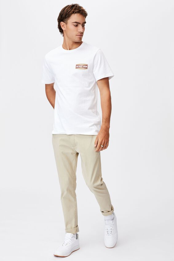 Tbar Moto T-Shirt, WHITE/DETROIT CUSTOMS