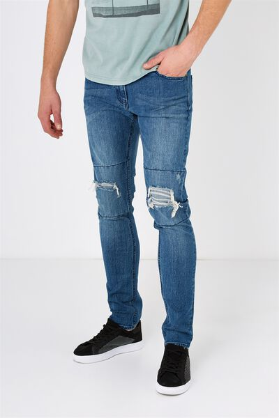 Slim Fit Jean, BLUE DESTROYER
