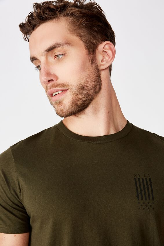 Longline Scoop Hem Tee, DUFFLE GREEN/NEW WORLD DIFFUSION