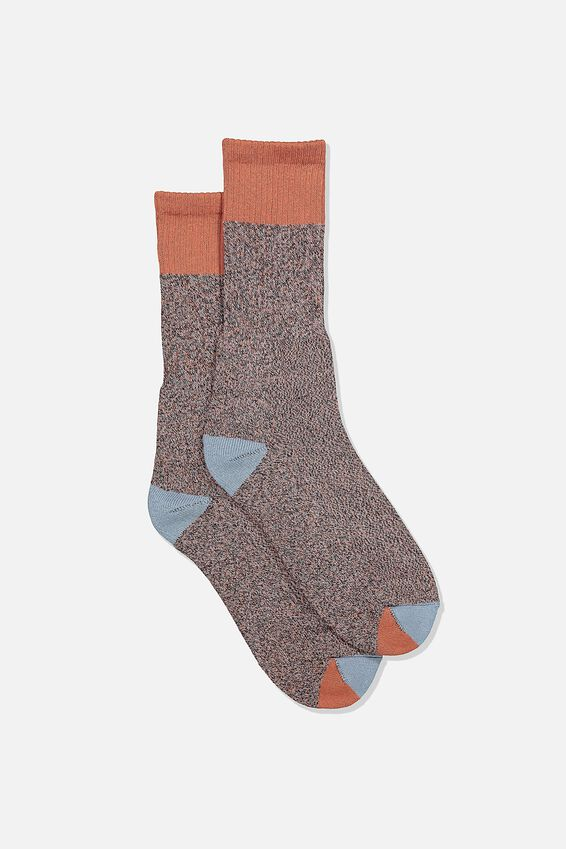 Single Pack Active Socks, BLACK TERRACOTTA BLOCK MELANGE