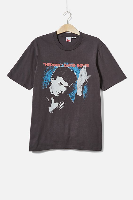 Tbar Collab Music T-Shirt, LCN PER SK8 FADED SLATE/DAVID BOWIE - HEROES