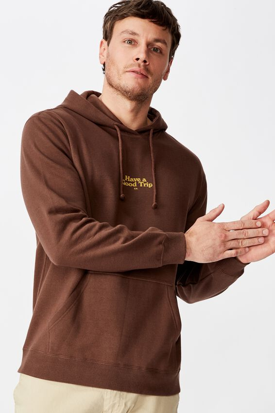 Fleece Pullover 2, CHOCOLATE BROWN/HAVE A GOOD TRIP