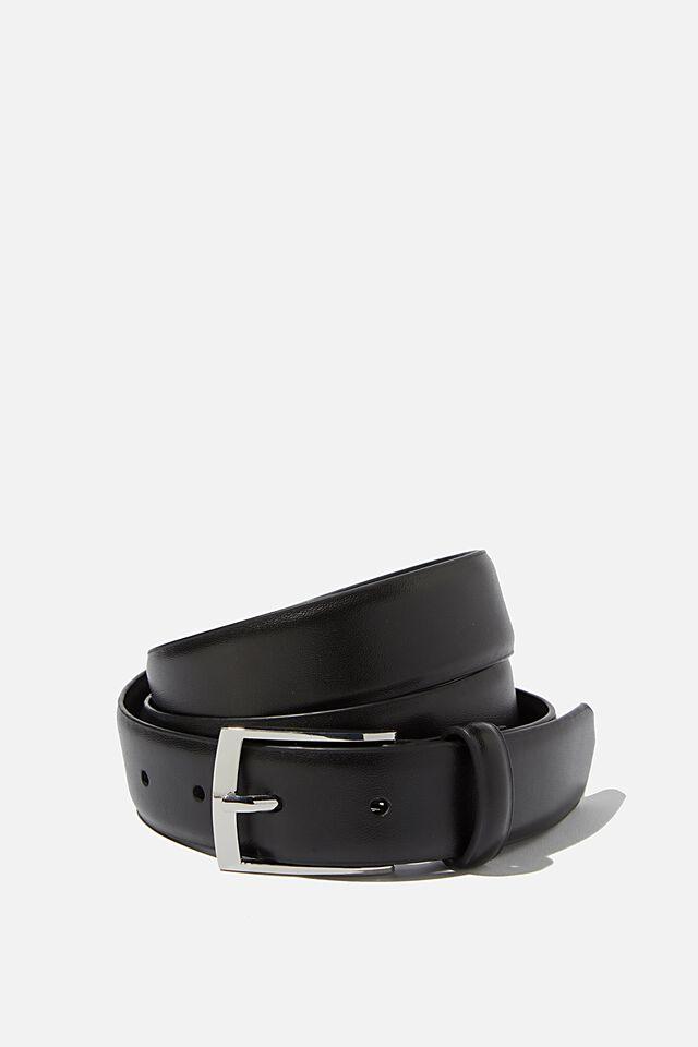 Dress Belt, BLACK/SILVER