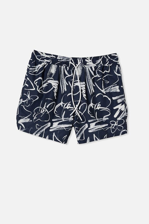 Swim Short, FLORAL INK