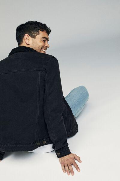 Borg Denim Jacket, BLACK ACID