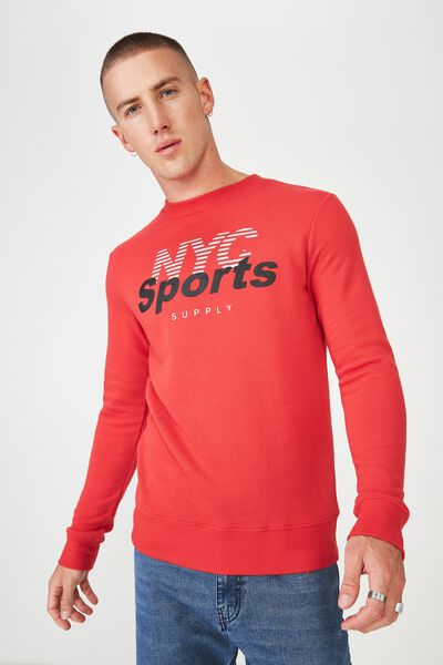 Crew Fleece 2, STRONG RED/NYC SPORTS SUPPLY
