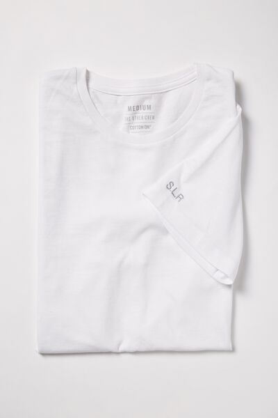 Embroidered Crew Neck Tee, WHITE