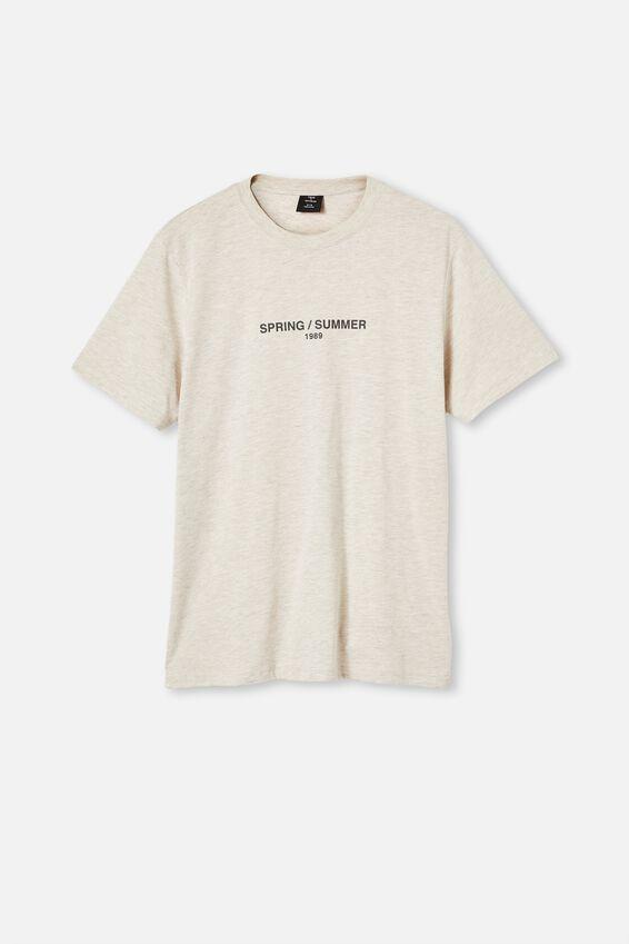 Tbar Text T-Shirt, OATMEAL MARLE/SPRING SUMMER 1989